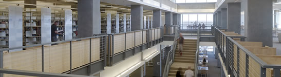 Interior shot of an upper floor of the UC Merced Library.