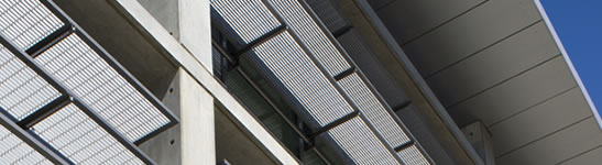 Image of the exterior window shades of Kolligian Library.